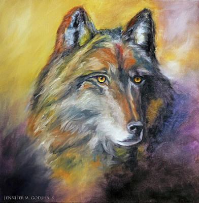 Painting - Kenai Wolf Portrait by Jennifer Godshalk