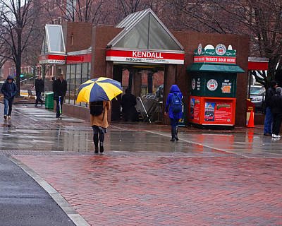 Kendall Square Rainy Day Cambridge Ma Art Print by Toby McGuire