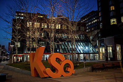 Photograph - Kendall Square Sign Cambridge Ma Night by Toby McGuire