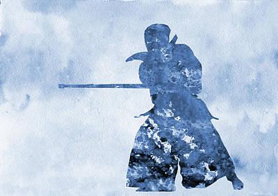 Kendo Wall Art - Digital Art - Kendo Practice-blue by Erzebet S