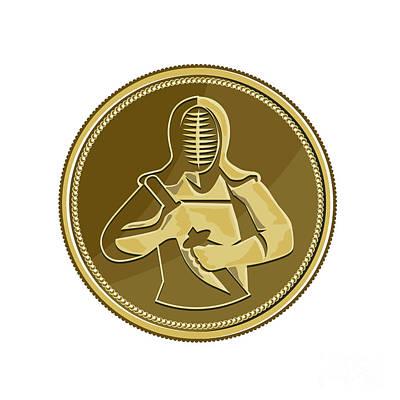 Kendo Wall Art - Digital Art - Kendo Swordsman Gold Medal Retro by Aloysius Patrimonio