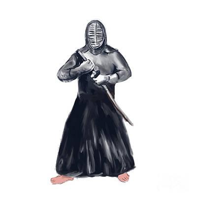 Kendo Wall Art - Digital Art - Kendoka Kendo Swordsman Watercolor by Aloysius Patrimonio