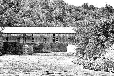Digital Art - Kenduskeag River Covered Bridge by John Haldane
