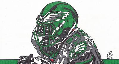 Philadelphia Eagles Drawings Drawing - Kenjon Barner Eagles  by Jeremiah Colley