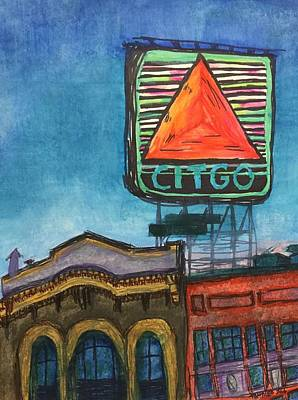 City Mixed Media - Kenmore Square Neon Citgo by Tontileo