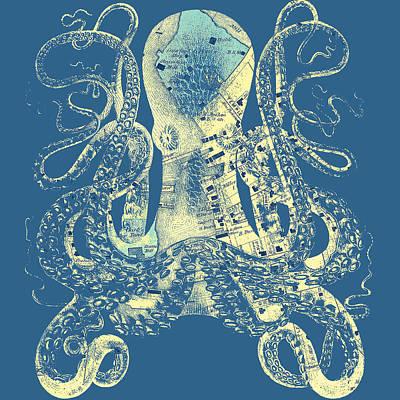 Maine Beach Mixed Media - Kennebunkport Octopus V2 by Brandi Fitzgerald