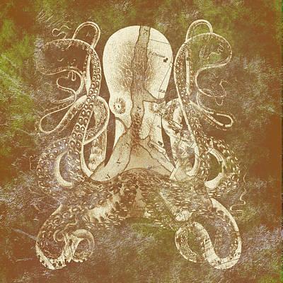 Maine Beach Mixed Media - Kennebunkport Octopus V4 by Brandi Fitzgerald