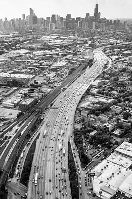 Photograph - Kennedy Expressway And Chicago Skyline by Adam Romanowicz