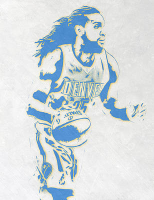 Basket Ball Mixed Media - Kenneth Faried Denver Nuggets Pixel Art by Joe Hamilton