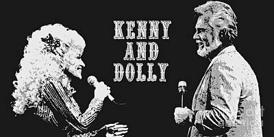 Kenny Rogers And Dolly Parton Art Print by Pd
