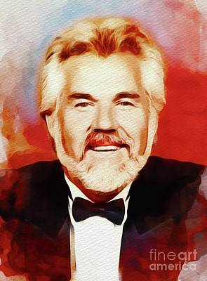 Music Paintings - Kenny Rogers, Music Legend by Esoterica Art Agency