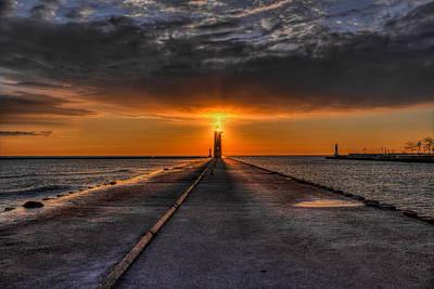 Photograph - Kenosha Lighthouse Beacon by Dale Kauzlaric