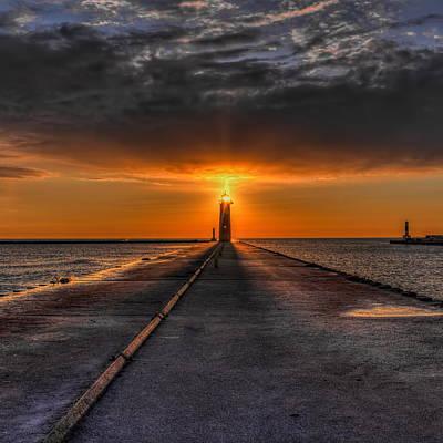 Photograph - Kenosha Lighthouse Beacon Square by Dale Kauzlaric