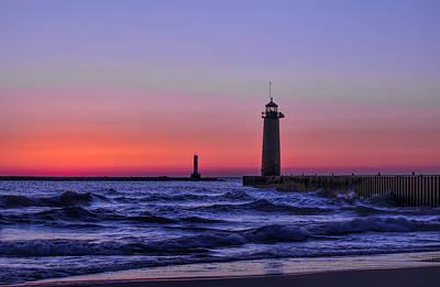 Photograph - Kenosha Lighthouse Blue Waves by Dale Kauzlaric
