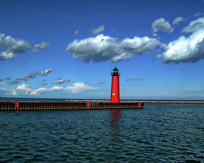 Photograph - Kenosha North Pier Lighthouse by Anthony Dezenzio