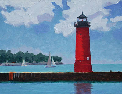 Painting - Kenosha North Pierhead Light by Charles Pompilius