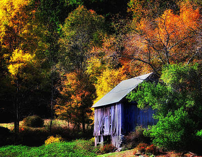 New England Fall Foliage Photograph - Kent Hollow II - New England Rustic Barn by Thomas Schoeller