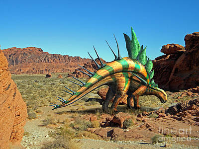 Reptiles Mixed Media - Kentrosaurus in the Desert by Frank Wilson