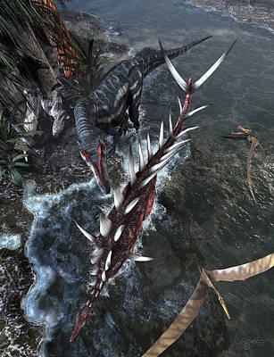 Kentrosaurus Vs Allosaurus Original by Kurt Miller