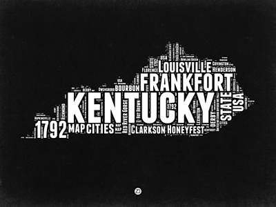 Louisville Digital Art - Kentucky Black And White Word Cloud Map by Naxart Studio