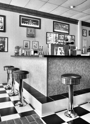 Stools And Counter Photograph - Kentucky Blue Diner Bw by Tri State Art