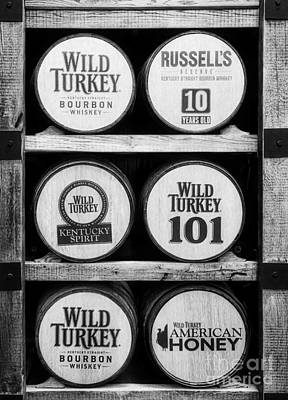 Photograph - Kentucky Bourbon Barrels Black And White by Mel Steinhauer