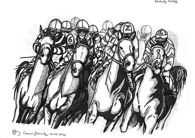 Kentucky Derby Drawing - Kentucky Derby by Channing Kennedy