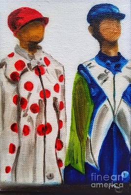 Painting - Kentucky Derby Jockey Mannequins by Mary Capriole