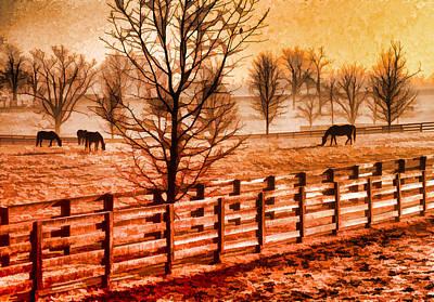 Kentucky Horse Farm  Art Print by Dennis Cox WorldViews