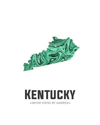 Mixed Media - Kentucky Map Art Abstract In Green by Studio Grafiikka