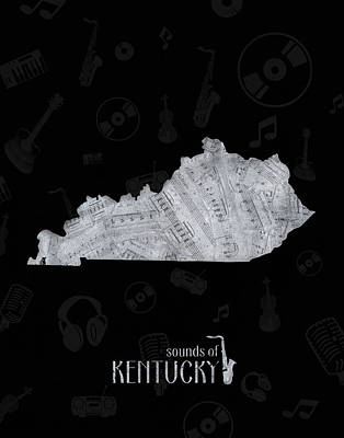 Jazz Royalty-Free and Rights-Managed Images - Kentucky Map Music Notes 2 by Bekim Art
