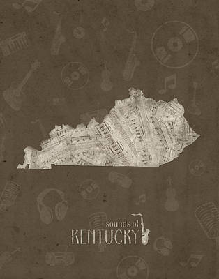 Rock And Roll Royalty-Free and Rights-Managed Images - Kentucky Map Music Notes 3 by Bekim Art
