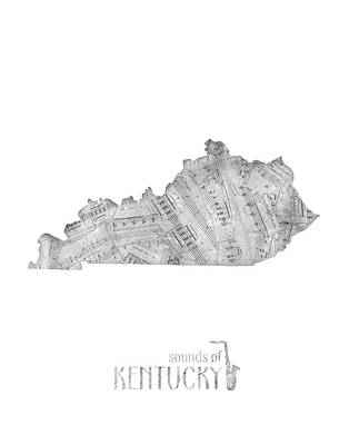 Jazz Royalty-Free and Rights-Managed Images - Kentucky Map Music Notes by Bekim Art