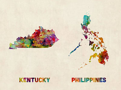 Digital Art - Kentucky Philippines Custom Order by Michael Tompsett