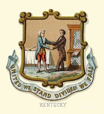 Kentucky Painting - Kentucky State Arms Of The Union  by Celestial Images
