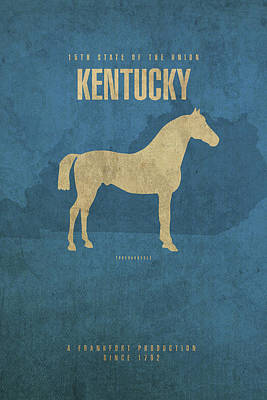 Horse Art Mixed Media - Kentucky State Facts Minimalist Movie Poster Art by Design Turnpike