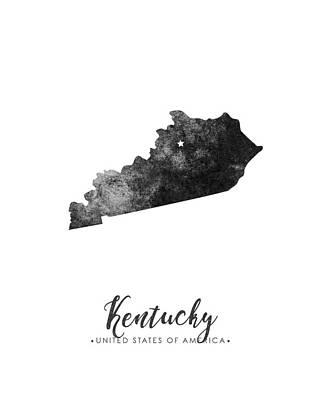 Geography Mixed Media - Kentucky State Map Art - Grunge Silhouette by Studio Grafiikka