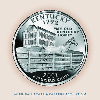 Kentucky Horse Park Digital Art - Kentucky State Quarter - Portrait Coin 15 by Garrett Burke