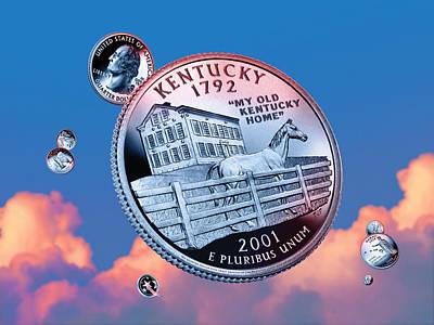 Kentucky Horse Park Digital Art - Kentucky State Quarter - Sky Coin 15 by Garrett Burke