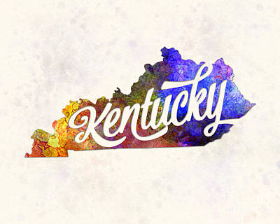Kentucky Painting - Kentucky Us State In Watercolor Text Cut Out by Pablo Romero
