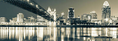 Photograph - Kentucky View Of The Cincinnati Ohio Skyline - Sepia Panorama by Gregory Ballos