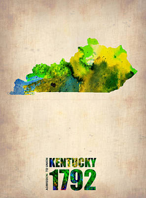 Modern Poster Painting - Kentucky Watercolor Map by Naxart Studio