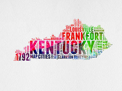 United States Mixed Media - Kentucky Watercolor Word Cloud Map by Naxart Studio