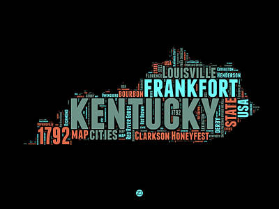 United States Mixed Media - Kentucky Word Cloud Map 1 by Naxart Studio