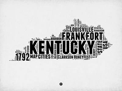 Kentucky Word Cloud Map 2 Art Print by Naxart Studio