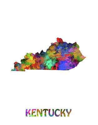 Mississippi State Map Digital Art - Kentusky Map Watercolor by Bekim Art