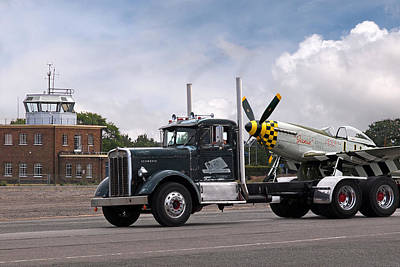 Photograph - Kenworth Hauling P-51 by Gill Billington