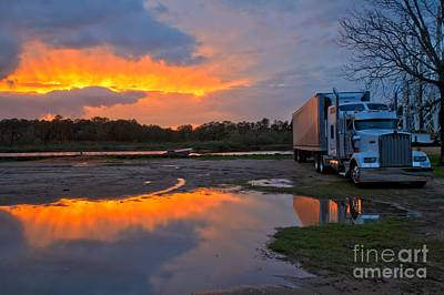 Photograph - Kenworth Rig At Sunset by Adam Jewell