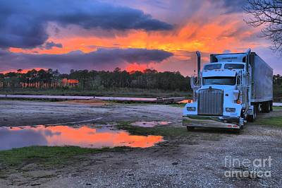 Photograph - Kenworth Truck At Sunset by Adam Jewell
