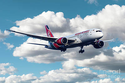 Boeing 787 Dreamliner Digital Art - Kenya Airways Boeing 787 Dreamliner by J Biggadike
